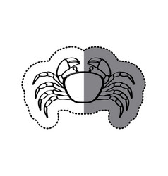 Sticker monochrome line contour with crab vector