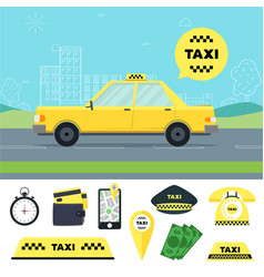 Taxi transportation service and tools set vector