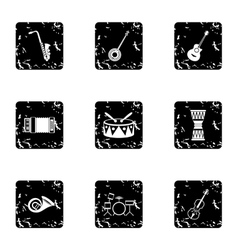 Tools for music icons set grunge style vector
