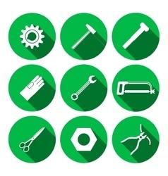 Tools icons set saw tongs wrench key cogwheel vector