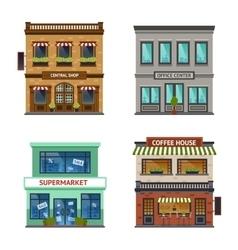 Vintage shop store office set vector image vector image