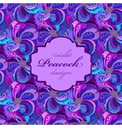 Violet lilac and blue peacock feathers pattern vector