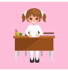 Little girl sitting at the table with notebooks vector