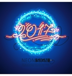 New year 2017 neon sign with lights vector