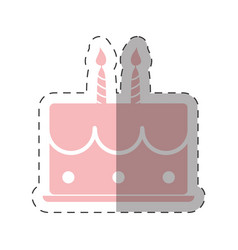 Pink birthday cake sweet candles vector