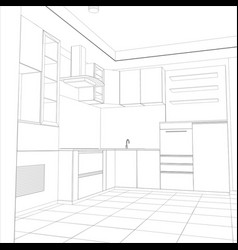 abstract sketch design interior kitchen vector image