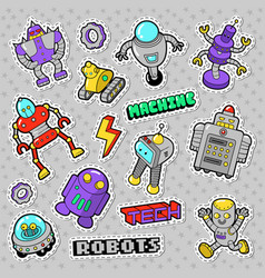 Cartoon robots and retro style electronics doodle vector