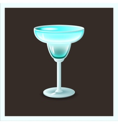 Blue cocktail in glass - vector