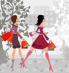 fashion girls with purchase in city for your vector image