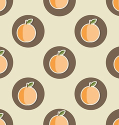 Peach pattern seamless texture with ripe peaches vector