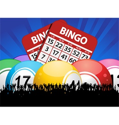 Bingo Balls cards and crowd on blue background vector image