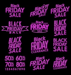 Black friday designs neon retro style elements vector