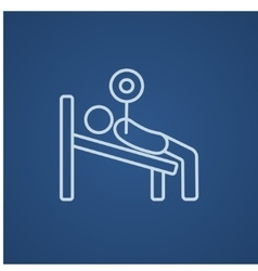 Man lying on bench and lifting barbell line icon vector