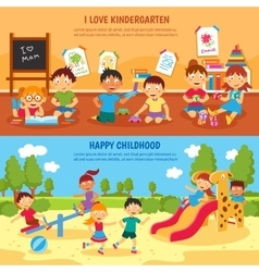 Kindergarten banner set vector