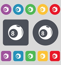 Billiards icon sign a set of 12 colored buttons vector