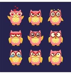 Pink Owl Emoji Collection vector image
