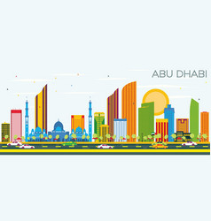 Abu dhabi skyline with color buildings and blue vector