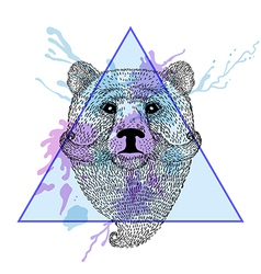 Bear face with bread in triangle frame with vector