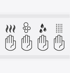 black isolated washing hands with water drops vector image vector image