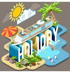 Cruise holiday isometric postcard infographic vector