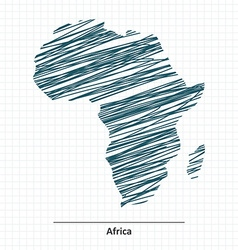 Doodle sketch of africa map vector