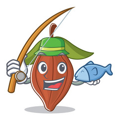 Fishing cacao bean mascot cartoon vector