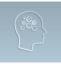 Gears on brain vector image vector image