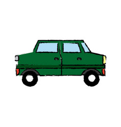 Green car sedan cartoon vehicle transport vector
