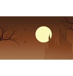 Halloween castle and bat silhouette vector