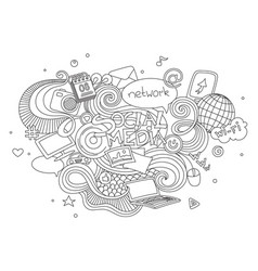 hand drawn cartoon doodle set vector image vector image