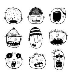 Hand drawn Doodle Outline Cartoon People Faces Set vector image