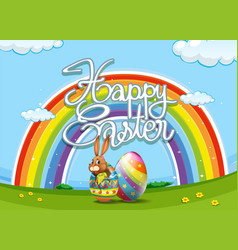 happy easter poster with bunny and egg vector image