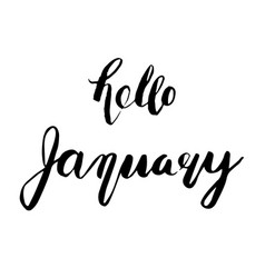 Hello january lettering vector