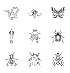 Insects set icons in outline style big collection vector