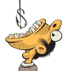 man greedy for money vector image