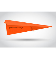 Orange paper airplane illsutration vector