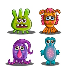 Set of cute cartoon monsters-2 vector image vector image