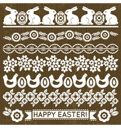 Set of Lace Paper with flowers and easter eggs vector image vector image
