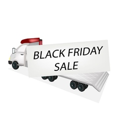 Tractor Trailer Flatbed Loading Black Friday Card vector image vector image