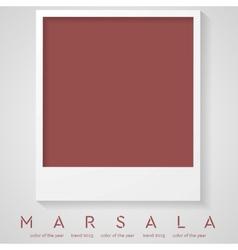 Trendy color marsala 2015 polaroid frame vector