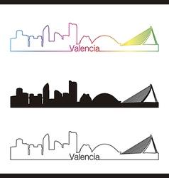 Valencia skyline linear style with rainbow vector