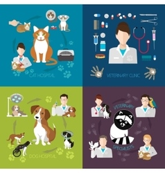 Veterinary flat set with cat and dog hospital vector image