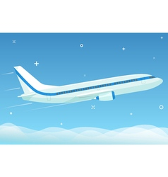 White airplane flies in the night sky with stars vector image