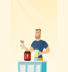 Young man making protein cocktail vector