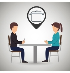 Couple sitting dinner vector
