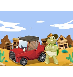 tortoise and car vector image