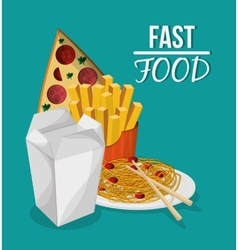 Pizza noodle fries and fast food design vector