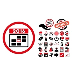 2016 Date Flat Icon with Bonus vector image