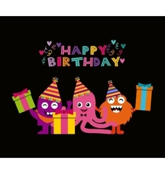 Monster characters in birthday party vector