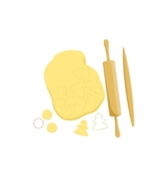 Dough and rolling pin baking process kitchen vector